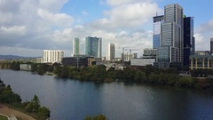 Aerial West view of Downtown Austin, Texas Stock Footage
