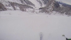 POV of a man skiing in the mountains in fresh powder snow and crashing. Stock Footage