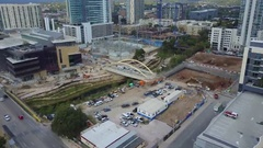 Construction of Bridge in downtown Austin, Texas Stock Footage