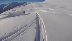POV of a man skiing in the mountains in fresh powder snow. Stock Footage
