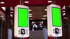 Green screen of ordering food at self check out machine at Mcdonalds Stock Footage