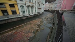 Karlovy Vary Waterfront river. Stock Footage