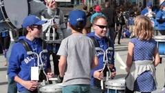 Toronto blue jays marching band kids drumming Stock Footage