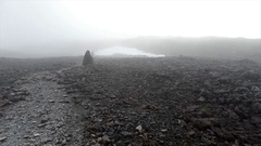 Foggy Route on a Dangerous Mountain Stock Footage
