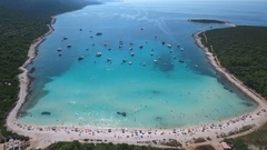 Aerial - Famous Sakarun beach shot high from the air Arkistovideo