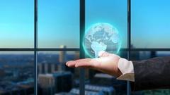 Man holding digital globe business background Stock Footage