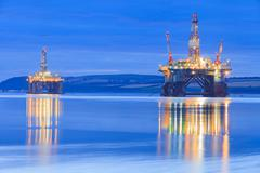 Semi Submersible Oil Rig during Sunrise at Cromarty Firth in Invergordon Stock Photos