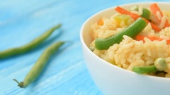 Chinese vegetable fried rice with asparagus Stock Footage