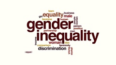 Gender inequality animated word cloud Stock Footage