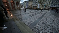 Karlovy Vary Prominada along the colonnade. Stock Footage