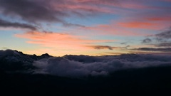 Early Winter Mountains Snow Sunset Clouds Timelapse Stock Footage