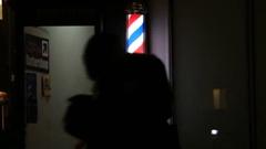 People in Manhattan New York Walk Past Barbershop Light Stock Footage