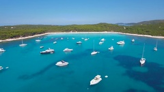 Aerial - Boats, yachts and sailing boats anchored in a bay with turquoise water Stock Footage