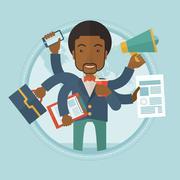 Man coping with multitasking vector illustration Stock Illustration