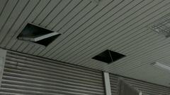 Light fitting fallen out in typhoon wind Stock Footage