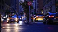 Manhattan New York City Park Avenue Traffic at Dusk Stock Footage