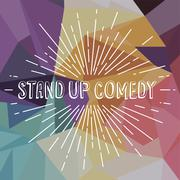 Stand up comedy text show sunrays retro theme Stock Illustration