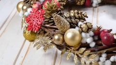 Christmas wreath on a wood background Stock Footage