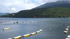 Red Torii Gate of Hakone Shrine on Hakone lake Stock Footage