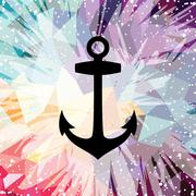 Abstract colorful anchor navy nautical theme Stock Illustration