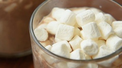 Winter hot cocoa with marshmallows Stock Footage