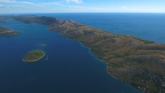Aerial - Panoramic view of Dugi otok toward southern part of the island Stock Footage