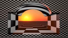 Window Checkered Horizon Stock Illustration