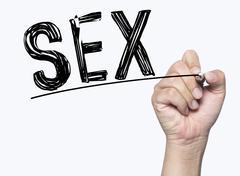 Sex written by hand Stock Photos