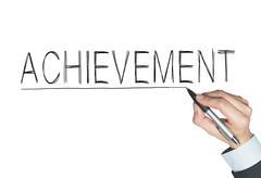 Achievement written by hand Stock Photos