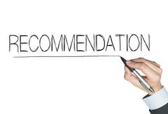 Recommendation  written by hand Stock Photos