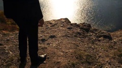 Close up of a man wearing elegant classical style walking on the hill of the Stock Footage