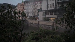 Karlovy Vary Fog over the river. Stock Footage