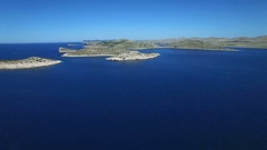 Aerial - Flying toward Kornati Islands also known as the Stomorski islands Stock Footage