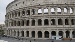 Majestic stone building of Coliseum in Rome, people visiting Italian landmark Stock Footage