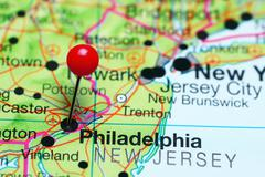 Philadelphia pinned on a map of Pennsylvania, USA Kuvituskuvat