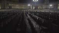 Empty chairs in Vatican square, expansion of atheism, global religion crisis Stock Footage