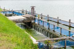 Clarifier, Wastewater treatment plant aerating basin Stock Photos