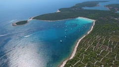 Aerial - High angle view of famous Sakarun beach on northern part of Dugi otok Stock Footage