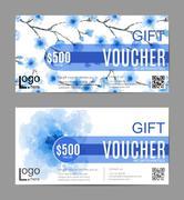 Set of Gift vouchers, vector beauty watercolor pink sakura background. VIP Stock Illustration