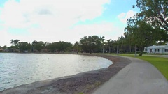Bike trail by the lake Stock Footage