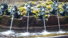 Hakone Shrine Chozuya purification fountain with dragon figurine Stock Footage