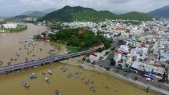 Aerial View of the Bridge, Nha Trang and po Nagar Stock Footage