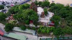Aerial View of the Complex of Ancient Towers of po Nagar Stock Footage