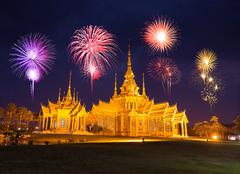 Fireworks Festival over Wat Luang Pho Toh temple in  at Nakhon Ratchasima pro Stock Photos