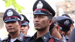 Policeman during celebration Chinese New Year in Chinatown, Bangkok. Thailand Stock Footage