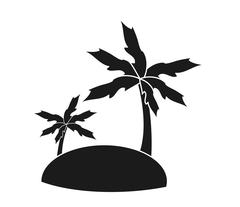 Isolated palm tree and island design Stock Illustration