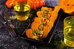 Baked pumpkin slices Stock Photos