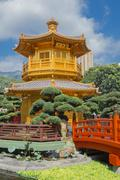 Golden teak wood pagoda at Nan Lian Garden in Hong Kong Stock Photos