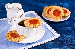 Shortbread with jam Stock Photos