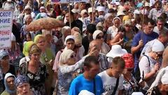 Parishioners Ukrainian Orthodox Church Moscow Patriarchate in Kiev, Ukraine Stock Footage